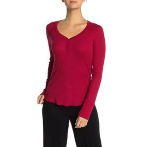 PJ SALVAGE Red Henley Thermal Shirt Size Xsmall